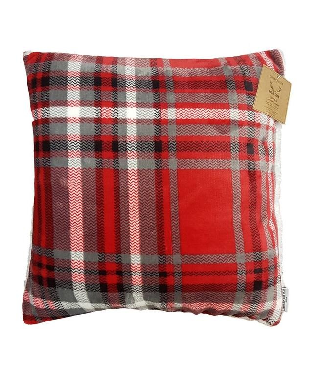 "LAUREN TAYLOR LUCAS PLAID SUPER SOFT SHERPA CUSHION 18X18"" (MP6)"