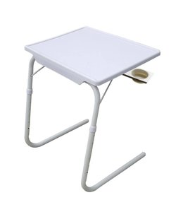 *ADJUSTABLE PORTABLE TABLE w/CUPHOLDER WHITE