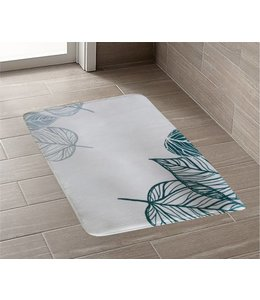 TROPICS PRINTED MEMORY FOAM BATH MAT GREEN (MP12)