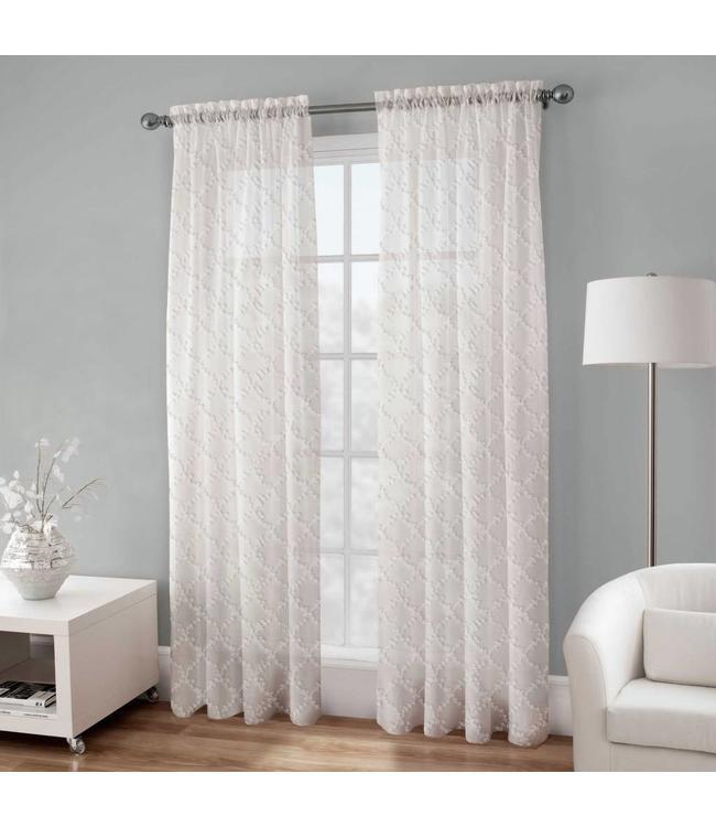 LAUREN TAYLOR BRITTA EMBROIDERED VOILE WINDOW PANEL WHITE (MP12)
