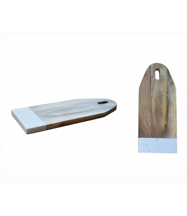 A LA CUISINE ACACIA & WHITE MARBLE CUTTING BOARD (MP12)
