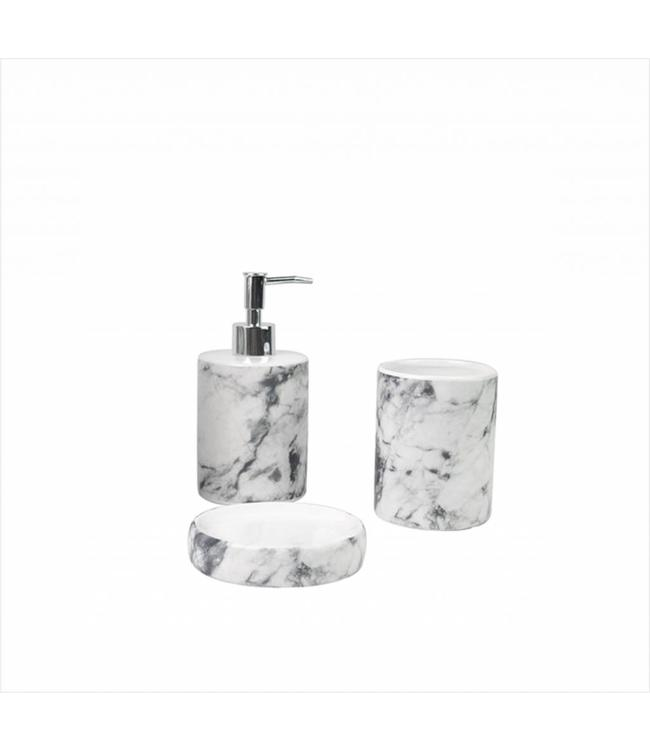 LAUREN TAYLOR MARBLE CERAMIC 3PC BATHROOM ACCESSORY SET (MP6)