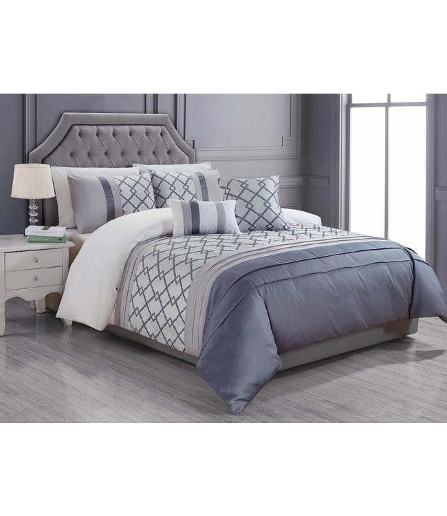 LAUREN TAYLOR 5PC VERENA DUVET COVER SET GRAPHITE (MP2)