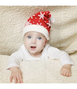 """MAISON CONDELLE PLUSH BABY BLANKET AND HAT RED/WHITE 30X30"""" (MP24)"""