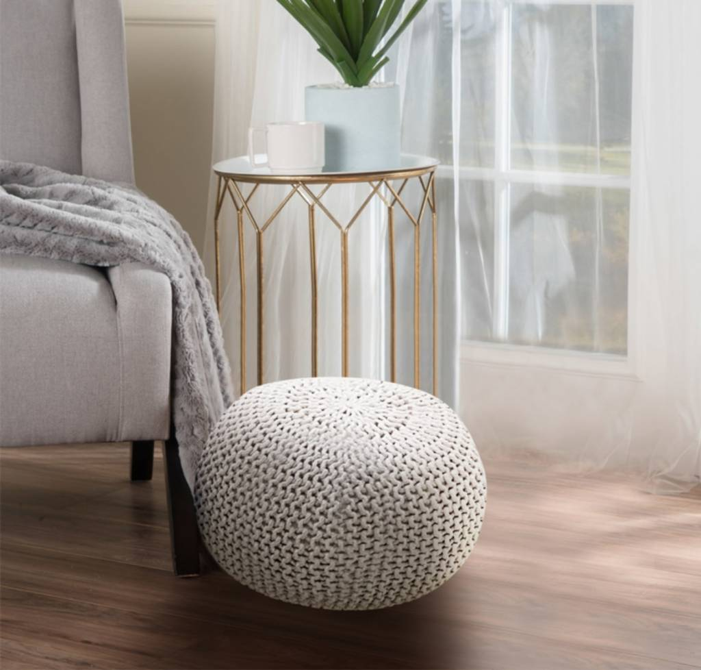 Lauren Taylor Braided Cotton Pouf Ottoman 20x14 Quot Mp2