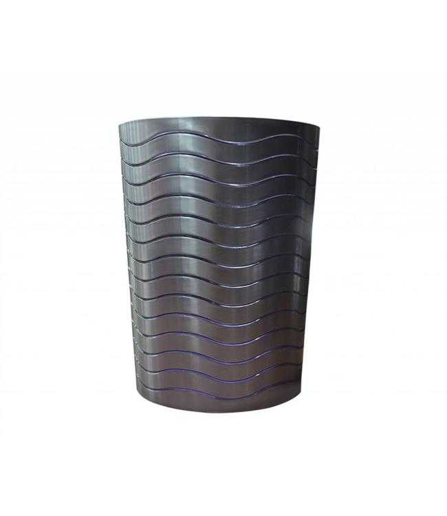 PLASTIC STAINLESS LOOK WASTE BASKET (MP6)