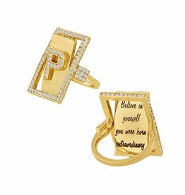 Eden Presley Diamond Initial Flip Ring