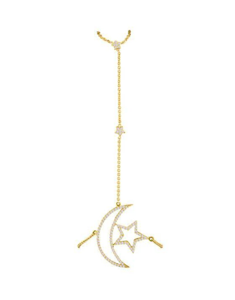 Eden Presley Moon Star Diamond Hand Chain