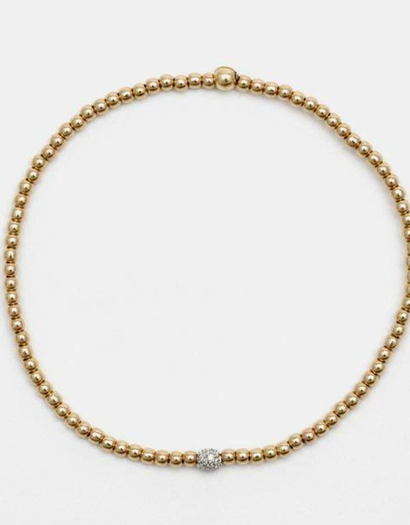 Karen Lazar Small 2 mm Rose Gold Filled Bracelet with 14k Gold Diamond Bead