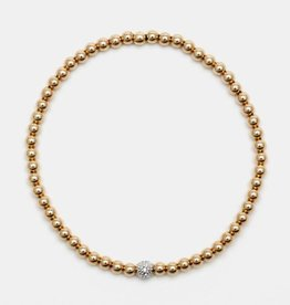 Karen Lazar Medium 3 mm Rose Gold Filled Bracelet with 14k Gold Diamond Bead