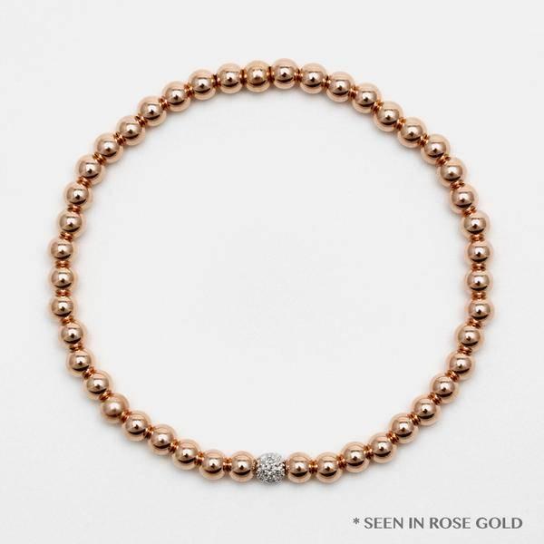 Karen Lazar Large 4mm Yellow Gold Filled Bracelet with 14k Gold Diamond Bead