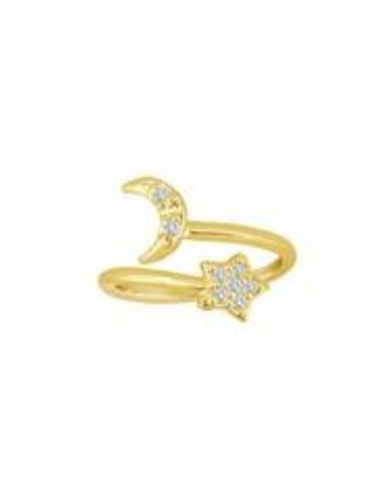 Eden Presley Mini Moon Star Diamond Wire Midi/Pinkie Ring