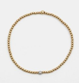 Karen Lazar Small 2 mm Yellow Gold Filled Bracelet with 14k Gold Diamond Bead