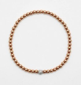 Karen Lazar Large 4mm Rose Gold Filled Bracelet with 14k Gold Diamond Bead