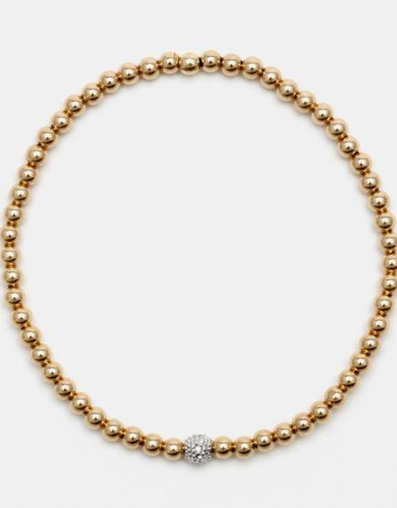 Karen Lazar Medium 3 mm Yellow Gold Filled Bracelet with 14k Gold Diamond Bead