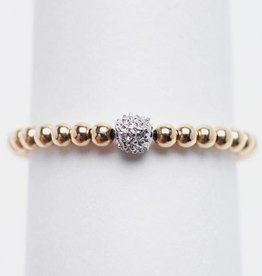 Karen Lazar 14k Yellow Gold Filled Ring with 14k Gold Pave Diamond Bead