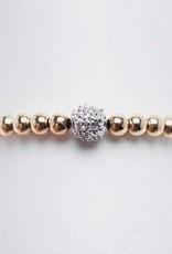 Karen Lazar 14k Rose Gold Filled Ring with 14k Gold Pave Diamond Bead