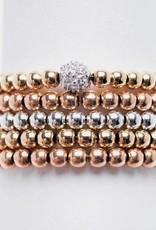 Karen Lazar 5 Stack Beaded Rings (Yellow Gold, Rose Gold, Sterling Silver, pave diamond bead)