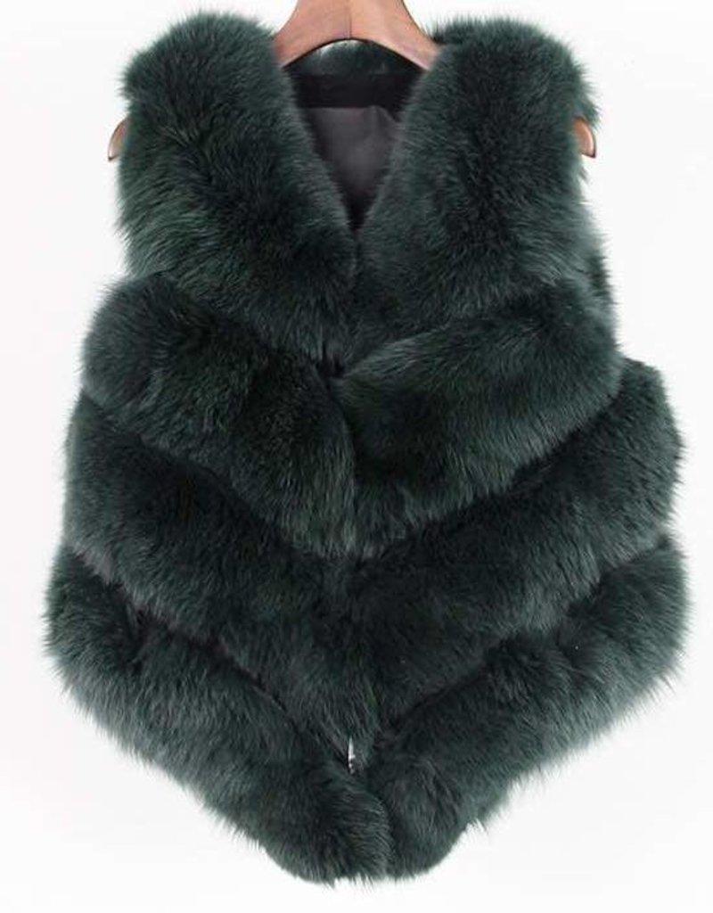 Daniella Erin NYC Hunter Green Fox Fur Vest