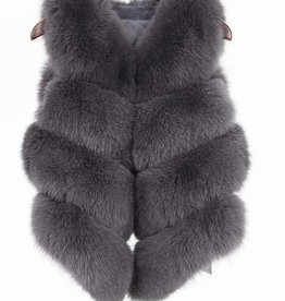 Daniella Erin NYC Grey Fox Fur Vest