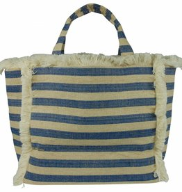 Hat Attack Blue Stripe Fringe Canvas Tote