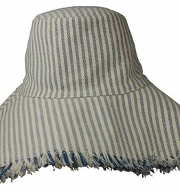 Hat Attack Fringed Edge Sunhat Narrow Blue Stripe