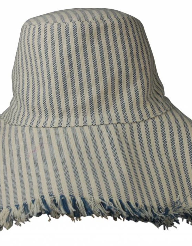 Hat Attack Fringed Edge Sunhat Narrow Blue Stripe