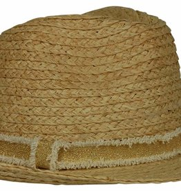 Hat Attack Raffia Braid Fedora Natural Gold Frayed Band