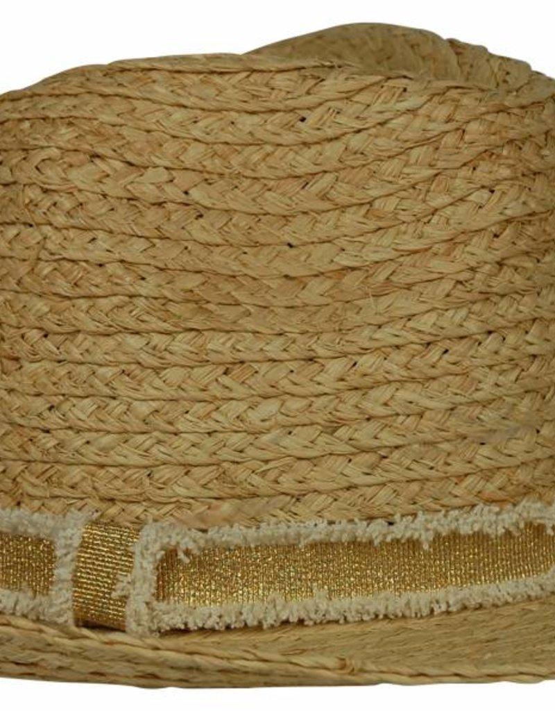 Hat Attack Raffia Braid Fedora Natural Gold Frayed Band