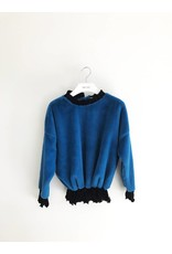 Bonsui Velvet Pleated Faux Fur Sweater
