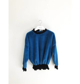 Bonsui Velvet Pleated Faux Fur Sweater - SOLD OUT