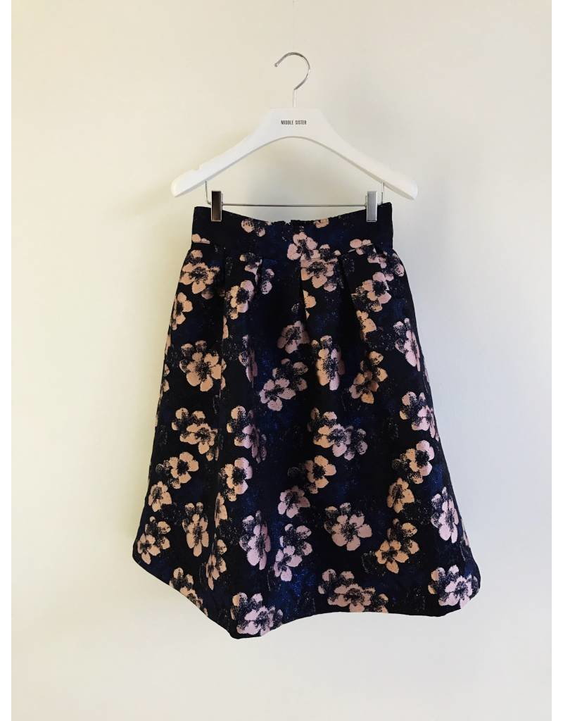 Bonsui Floral Jacquard Fit Flare Skirt