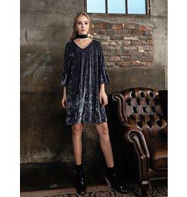 Bonsui Flare Sleeve Velvet Tunic Dress