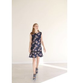 Bonsui Floral Jacquard Sleeveless Dress