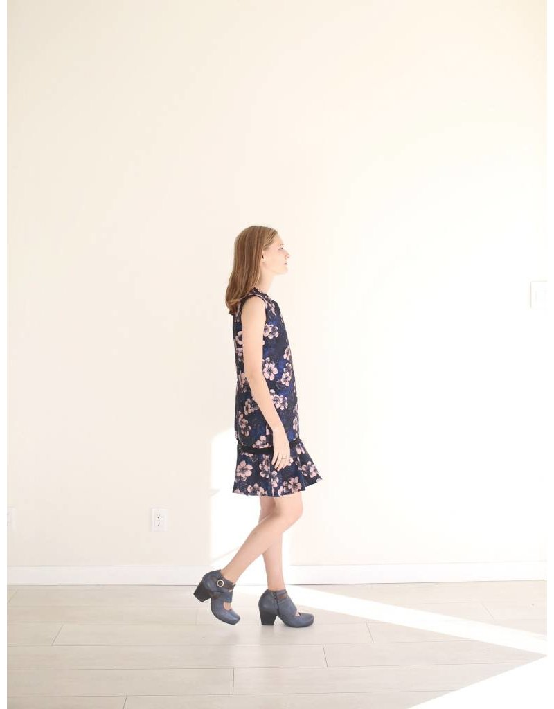 Bonsui Floral Jacquard Sleeveless Dress
