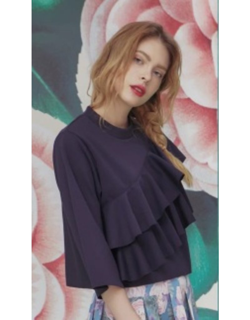 Ti:Baeg Double Layer Cropped Ruffled Sweater