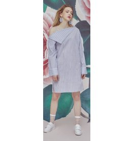 Ti:Baeg Pearl Striped Off Shoulder Dress