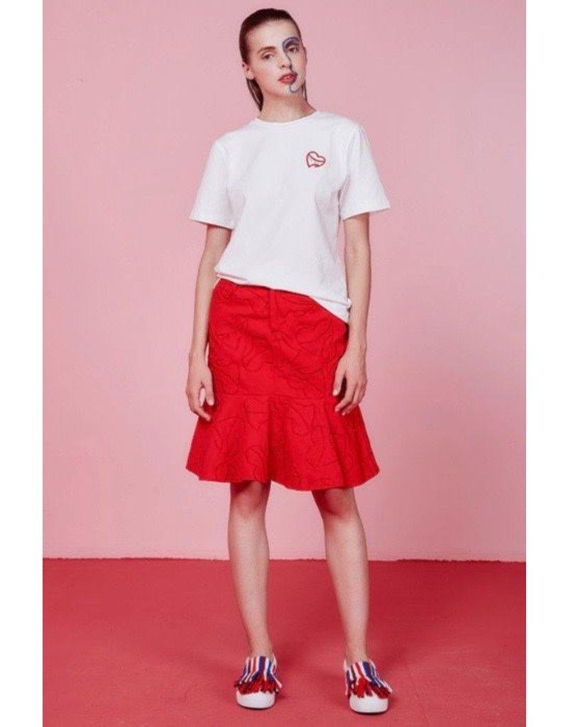 Eye of P Heart Logo Embroidered Fishtail Skirt
