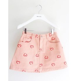 Eye of P A-line Denim Skirt with Hearts
