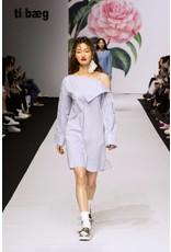 Ti:Baeg Pearl Striped Off Shoulder Dress