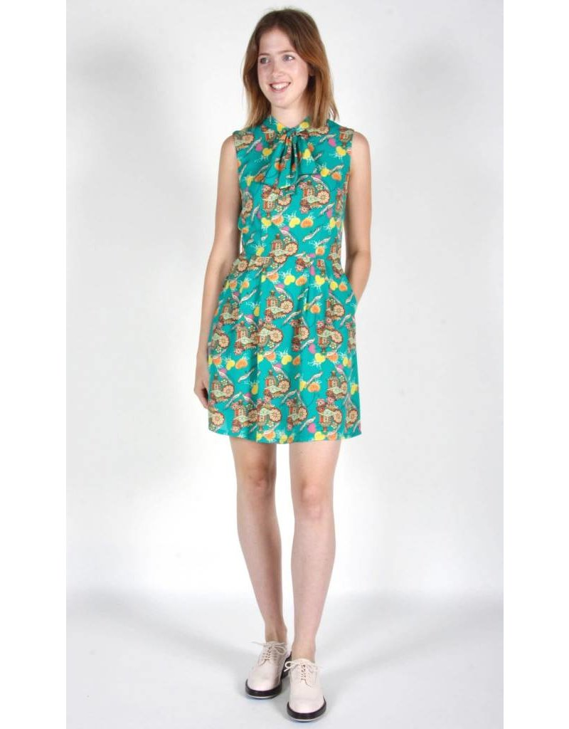 Birds of North America Chicken Pagoda Green Dress