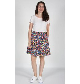 Birds of North America Schiffornis London Floral Navy Skirt