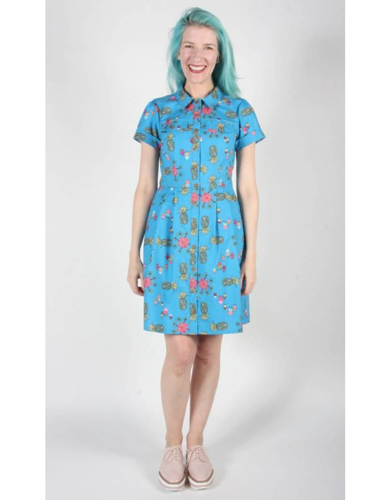 Birds of North America Ptarmigan Blue Pineapple Party Dress