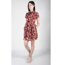 Birds of North America Blackbird Burgundy Flower Burst Dress