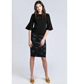 Allison Wonderland Malba Black Print Pencil Skirt