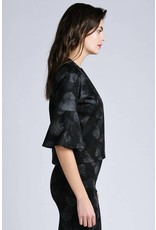 Allison Wonderland Pergamon Bell Sleeve Black Floral Top