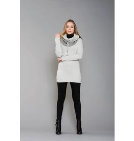 Ruelle Darwin Turtleneck Grey/Beige Tunic Top