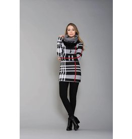 Ruelle Darwin Turtleneck Red Stripe Tunic Top