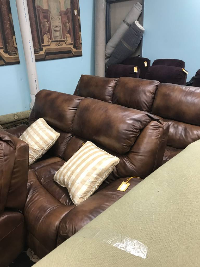 3 Piece Sofa Couch Loveseat U0026 Chair Dark Brown Plush Leather Recliners ...