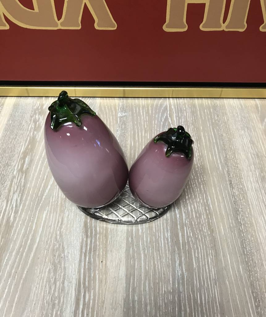 eggplant kitchen accessories murano blown glass purple eggplant italian style 3534